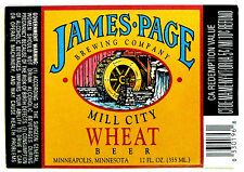 James Page MILL CITY WHEAT BEER  beer label MN 12oz