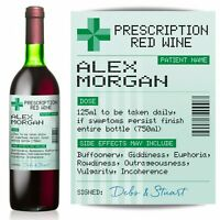PERSONALISED Prescription Red Wine label, fun spoof Birthday gift