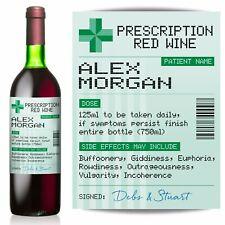 PERSONALISED Prescription Red Wine label, fun spoof Birthday gift