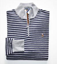 NWT Men's Polo Ralph Lauren 1/2 Zip Pullover Sweater, Gray, Blue, M, Medium