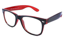 Medium Frame Black Red Geek Nerd Two Tone Clear Lens Glasses Hipster 1980's Vtg