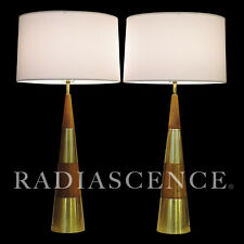 XL TONY PAUL WESTWOOD WALNUT BRASS MODERN JET AGE ATOMIC CONE TABLE LAMPS 1950