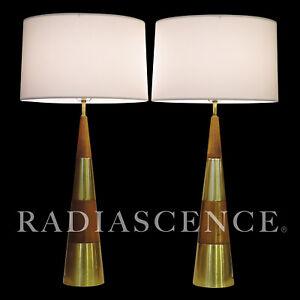 PAIR XL TONY PAUL WESTWOOD WALNUT BRASS MODERN JET AGE ATOMIC CONE TABLE LAMP