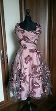 Collectif Vintage Dorothy Floral Winter Tulle dress Size 8 Pin Up Retro BNWT