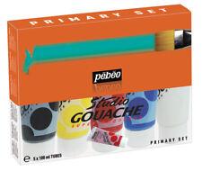 Pebeo Studio gouache Opaque Watercolour Paint Primary Colour Set 5 x 100 ml tubes