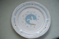 "Vintage Stoneware Moonlight Thailand Goose Geese 10.5"" Dinner Plate"