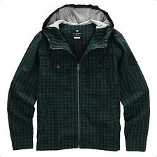 NII Mens Check Pattern Hood Zip Up Jacket Jumper Green Slim Fit Size M NWT