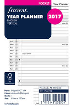 Filofax Pocket 2017 Vertical Year Planner Diary Insert Refill English 17-68202