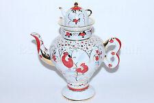 Russian Imperial Lomonosov Porcelain Teapot Bright Folk Patterns Gold LFZ Rare