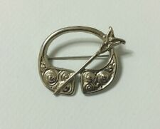 CELTIC  BROOCH DB Dawson Bowman PENANNULAR pin viking scottish irish silver tone