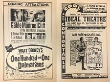 Gable Marilyn Monroe GONE WITH THE WIND 1958 handout Ideal Theatre Hampden MD