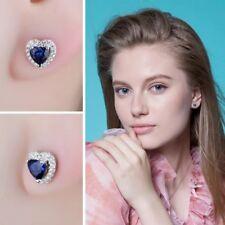 925 Sterling Silver Blue Sapphire White Topaz Heart Stud Earrings