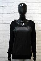 CALVIN KLEIN Donna Taglia L Maglione Cardigan Maglia Pullover Sweater Women Nero