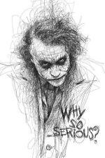 Quadro con disegno Joker Batman Heath Ledger cinema film