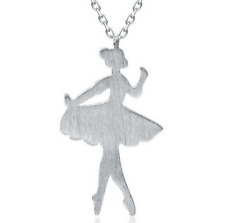 925 Sterling Silver Ballet Girl Pendant Chain Necklace Jewelry Christmas Gift