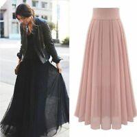Dress Double Women Hot Elastic Pleated Retro Chiffon Waist Long Maxi Layer Skirt