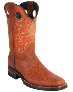 WILD WEST COGNAC GENUINE SHARK COWBOY BOOT RODEO-SQUARE-TOE RUBBER SOLE (EE)