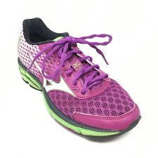 Women's Mizuno Wave Rider 18 Running Shoes Sneakers Size 6.5 B Purple Green B13