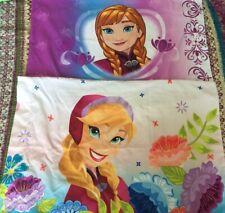 DISNEY FROZEN ANNA ELSA (2) PILLOW CASES Standard Pillowcases Lot