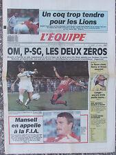 L'Equipe du 5/10/1989 - Foot : L'OM et le PSG - Rugby : France/Angleterre