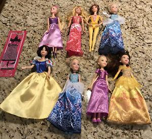 Mattel And Hasbro Disney Princess Dolls Lot of 8+ 1 Barbie Outfit