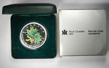 2002 CANADA COLORED PROOF 5 DOLLAR GREEN SPRING  SILVER MAPLE LEAF!