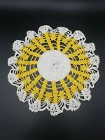 "Handmade Antique Vintage Crochet DOILIE YELLOW/gold AND WHITE 10"" diameter"