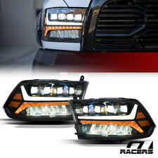 For 2009-2018 Dodge Ram Black Full LED Sequential Tube Quad Projector Headlights