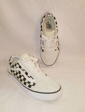 VANS Old Skool White Black Checker Skate Sneaker Shoes Size Women's 8