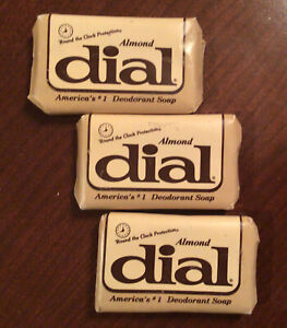 Lot 3 Vintage Hotel Sample Size Bars of Dial Almond Deodorant Soap 1980s