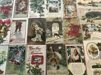 Lot of 25 Vintage 1900's Christmas Greetings Postcards Antique-in Sleeves-m656