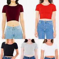 Women T-shirt Tank Tops Crop Vest T-shirt Croped Short Sleeve Shirt Solid Casual