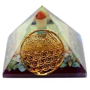 Organite Pyramid Flower of Life Crystal Gemstone Healing Orgone Reiki Feng Shui