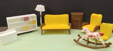 Vintage 1960's small doll living room furniture - felt and plastic pieces