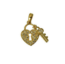14K Yellow Gold Very Small Fancy Key & Lock to my Heart Pendant Cubic Zirconia