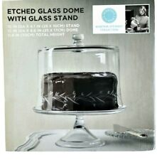 Martha Stewart Collection Etched Glass Dome With Glass Cake Stand NEW BOX 11.8""
