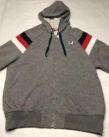 Men's Fila Sport Gray Full Zip Hoodie Sweatshirt Large White/Red/Blue Stripes