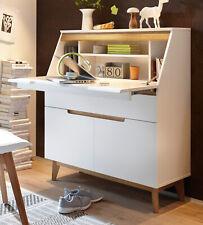 Sekretär matt weiß echt Lack mit Ast Eiche massiv Schreibtisch und Kommode Cervo