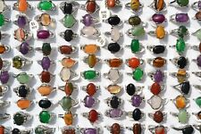 40pcs wholesale jewelry lots Nature stone silver plated rings free shipping