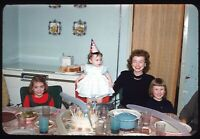 Toddler Girl Birthday Cake Party Mom 1960 60s Vintage 35mm Kodachrome Slide