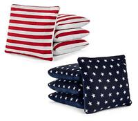 Stars Stripes Pro-Style Cornhole Bags Slick & Stick Resin Filled Suede & Canvas