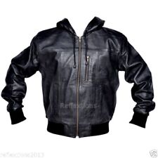 Mens Leather Hood Jacket Mens Bomber Style Soft Fashion Stylish Trendy Jacket