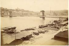 Hongrie, Magyarorszàg, Budapest, le pont des Chaînes Vintage albumen print,