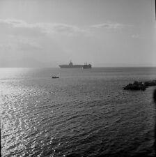 """Q335 Original 1953 Rollei photo NEGATIVE 2 1/4"""" aircraft carreir Naples ship"""