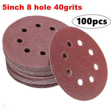 100pcs 40grits Sanding Discs,Dustless Hook and Loop Sander Paper 5 Inch 8 Hole