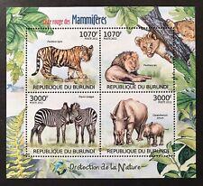 BURUNDI ENDANGERED WILD ANIMALS STAMPS SHEET 2012 MNH LION TIGER RHINO ZEBRA