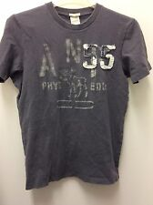 Men Abercrombie And Fitch Short Sleeve Solid Gray T-Shirt Muscle Vintage Size S