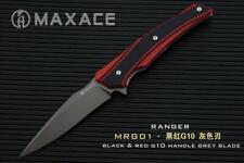 Maxace Ranger Folder Knife Black + Red Handle Plain Edge XW42 Blade MRG01