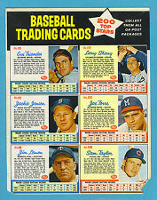1962 Post Cereal Baseball Sheets: Joe Torre, Sam Taylor (EX, 2 corners nipped)
