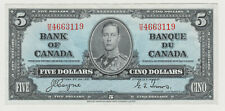 BANK OF CANADA 1937 FIVE DOLLAR NOTE H/S 4663119 NICE CRISP NOTE
